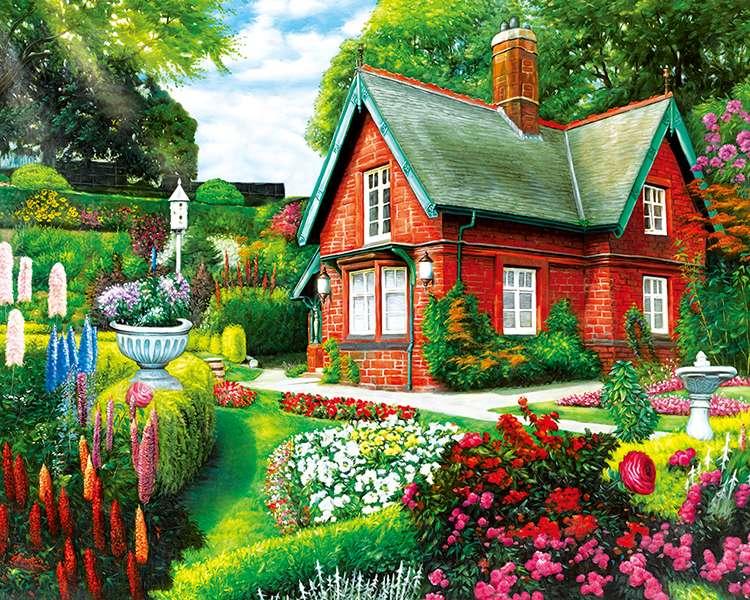 rood huis, bloemen op het terrein - m (11×9)