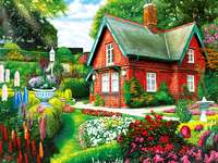 red house, flowers on the property