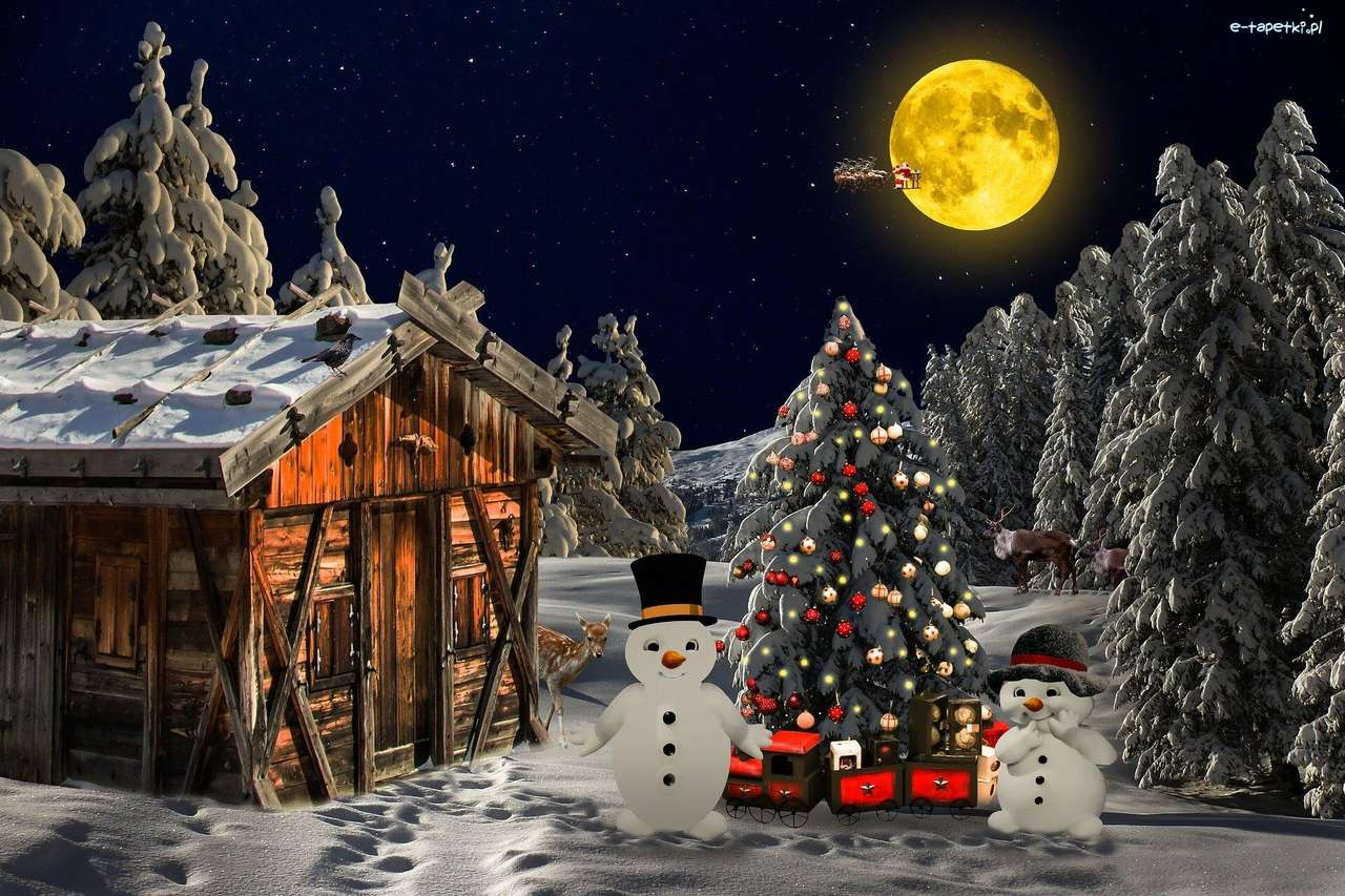 Коледна елха със снежни човеци в двора - м (12×8)
