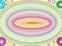 Koncentryczne elipsy - Koncentryczne kolorowe elipsy wykonane farbą