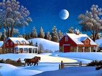 Cabane și sanii acoperite de zăpadă noaptea - Cabane și sanii acoperite de zăpadă noaptea .....