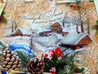 Χριστουγεννιάτικη κάρτα - εορταστική χριστουγεννιάτικη διακόσμηση
