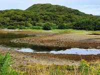 зелена тревна площ край езерото през деня - Изображение от полуостров Ковал, Шотландия. Полуостро�