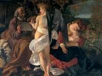 caravaggio- de vlucht naar Egypte - schilderij uit de vroege Romeinse tijd