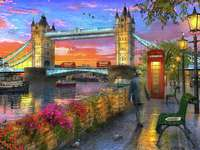 Een eenzame wandeling door Londen - London Walk, River and Bridge ....