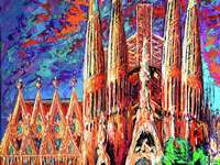 Barcelona La Sagrada Familia målning