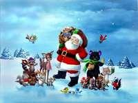 Санта с домашни любимци