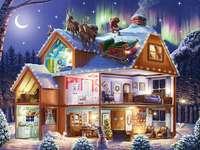 uma vista de conto de fadas de uma casa com equipamentos - m /................../