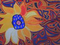 blue and yellow flower painting
