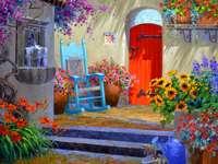 Schilderend huis in het warme zuiden