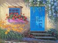 Casa de pintura en el cálido sur