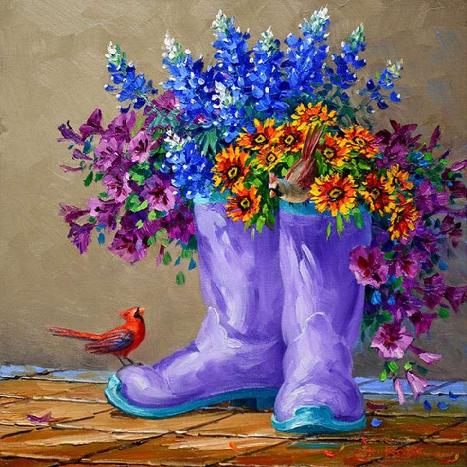 Ζωγραφική μπότες ως γλάστρες (11×11)