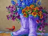 Ζωγραφική μπότες ως γλάστρες