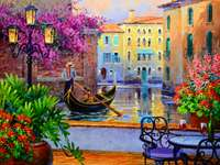 Dipinto gondoliere di Venezia