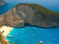 paesaggio aereo dell'isola verde - Spiaggia di Navagio, Grecia, Zante. Navagio, Греция