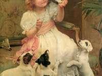 animais e uma menina