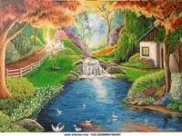 Regnbåge - Ett vackert landskap. Det finns ett mycket trevligt hus till vänster eller till höger. Det finns e