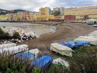 coast of Bagnoli NA Italy - beach with boats in dry winter panorama Bagnoli Italy
