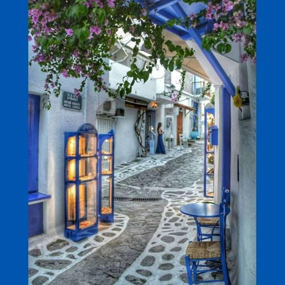 STREET IN GREECE - BLUE STREET IN GREECE (11×11)