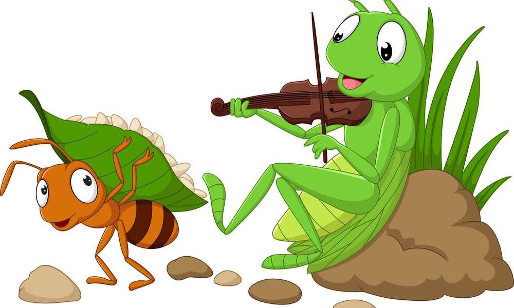 Saltamontes y la hormiga - Une las piezas y descubre la imagen (10×6)