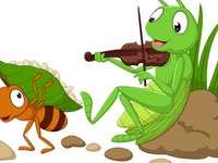 Sprinkhaan en de mier - Match de stukken en ontdek de afbeelding