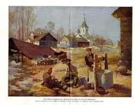 църква и войници - Парк с немски войници и църквата