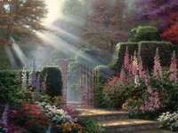solstrålar i trädgården - m ...................