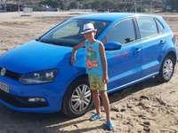 Синята кола - Синя кола на плажа