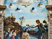 The Baptism of Jesus (painting by Cima da Conegliano) - The Baptism of Jesus (Italian: Battesimo di Cristo) - a tempera painting by the Venice painter Giova