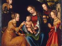 Mystická svatba sv. Catherine (obraz Lucas Cr - Mystická svatba sv. Catherine, také Madona s dítětem, St. Catherine, St. Margaret, St. Dorothy a