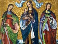 Mary with the Child and Saints Felice and Perpet - Mary with Child and Saints Felicyta and Perpetua - a late Gothic painting painted by an unknown arti