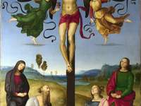 Crucifixion (Raphael painting) - Crucifixion (also Crucifixion with two Angels, Madonna and saints Jerome, Magdalene and John the Eva