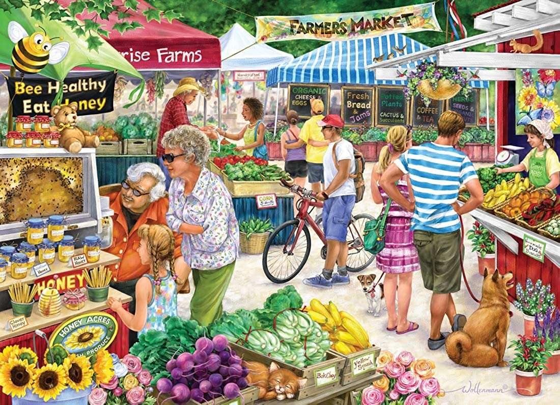 фермерски пазар - Фермерски пазар, плодове, мед, хора (12×9)