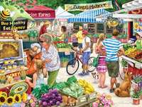 farmers market - Farmer's market, fruit, honey, people