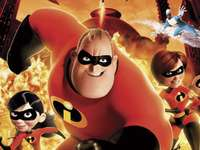Incredibles - The incredibles family in action