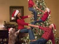 decoração de árvore de natal - Natal, pinheiro, família, ginástica, diversão
