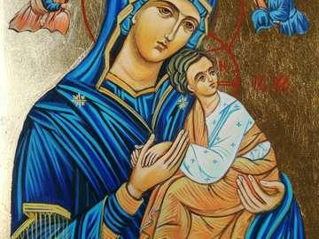 Heilige Jungfrau Maria hält das Jesuskind