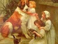 dzieci ze zwierzętami domowymi