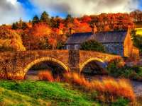 House And Bridge Over The River - The House And The Bridge Over The River, Autumn ...