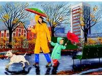 Pioggia autunnale - Questa immagine mostra il parco in una piovosa giornata autunnale.