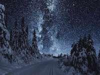 nádherný pohled zimy v noci - nádherný pohled zimy v noci