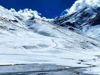 snow covered mountain under blue sky during daytime - #mountain #winter #landscape. RP2030, Al Haouz, Morocco