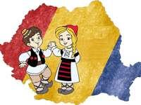 Joyeux anniversaire Roumanie - Puzzle avec la carte de la Roumanie et des Roumains - 4 pièces