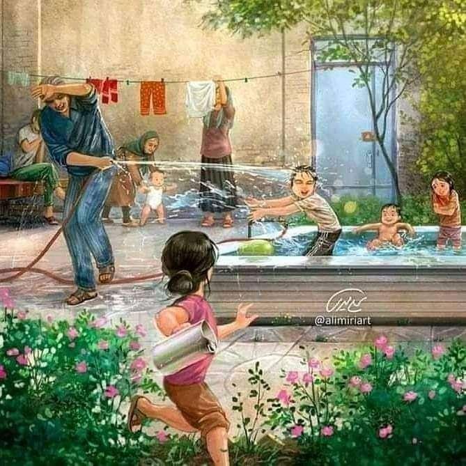 Kinder spellen - Foto van een tuin waar kinderen op een hete zomerdag met water spelen (10×10)