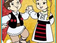 Românas și româncuță - Aranjați piesele puzzle-ului astfel încât să obțineți imaginea corectă