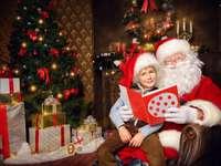 ο Σάντα διαβάζει, χριστουγεννιάτικο δέντρο, δώρα - Μ .......................