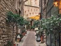 stradă îngustă din Assisi Italia - Drumul San Francesco începe din Assisi, Italia