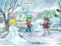 bajkowa zima - ułóż części zgodnie z rysunkiem