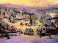 Zimní krajina. - Krajina puzzle.
