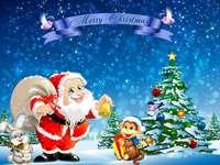 Ο γενναιόδωρος Άγιος Βασίλης - Άγιος Βασίλης, με την τσάντα γεμάτη δώρα στο πίσω μέρος